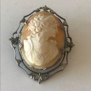 Vintage carved shell cameo brooch metal frame